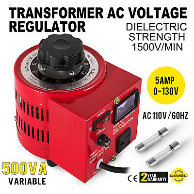 Variac Transformer Variable Ac Voltage Regulator 500va 1500vmin 5amp 0130v