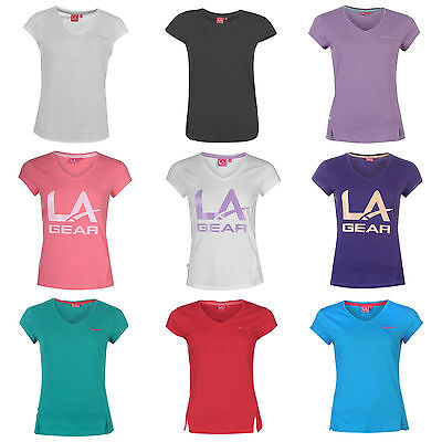 LA Gear Ladies Womens T Shirt Gym V Neck Running Sports Top 8 10 12 14 16 18 20