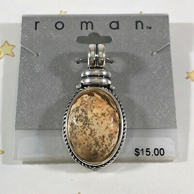 Roman Large Brown Speckled Genuine Stone Oval Pendant Charm Silver Metal -