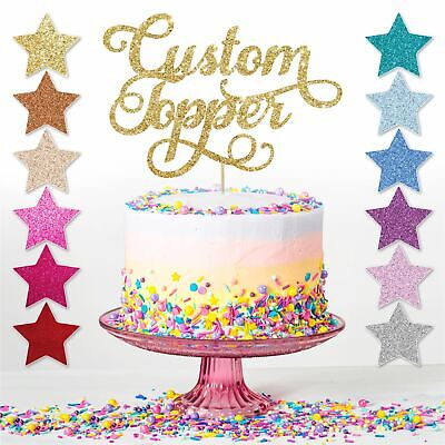 Custom Personalised Glitter Cake Topper Birthday Party Decoration Any Name Word
