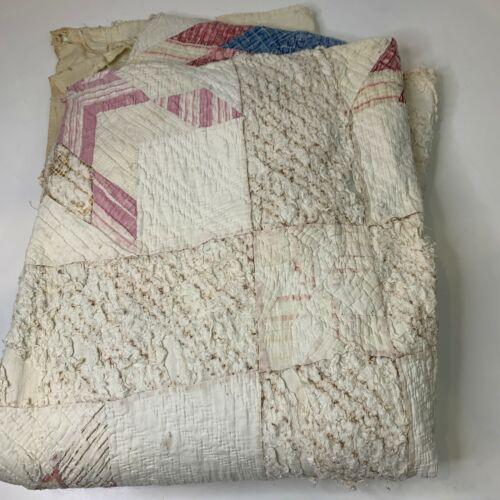 vintage hand sewn quilt coverlet white star pattern pink handmade blanket full