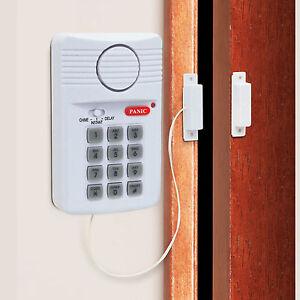 New Wireless Door Alarm For Shed Garage Caravan Security Keypad Alarm UK