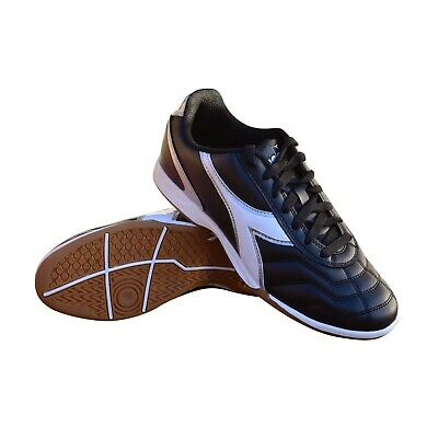 Diadora Men's Capitano ID Indoor Soccer Shoes (Black/White) Diadora Indoor Soccer