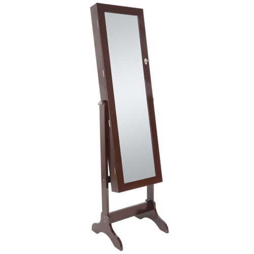 Jewelry Cabinet Armoire with Beveled Edge Mirror Jewelry Organizer Brown Jewelry & Watches