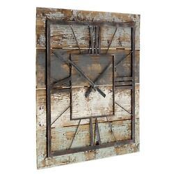 Large Wall Clock Rustic Square Wooden Farmhouse Modern Decor Analog Distressed