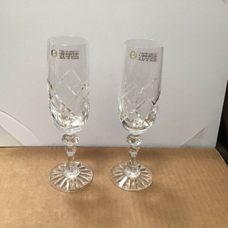 Zawiercie Set Of 2 Hand Cut Clear Crystal Champagne Flutes Poland