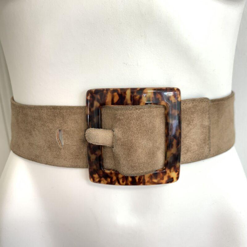 """Vintage 1970s YSL Suede Tortoise Shell Belt Buckle Wide brown designer Large 31"""""""