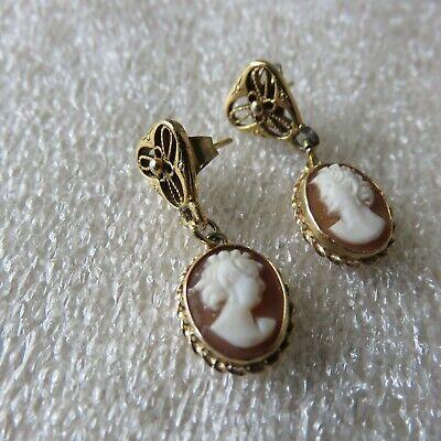 80's Costume Jewelry (Vintage 80s Womens Small Stud Cameo Drop Earrings Retro Costume)