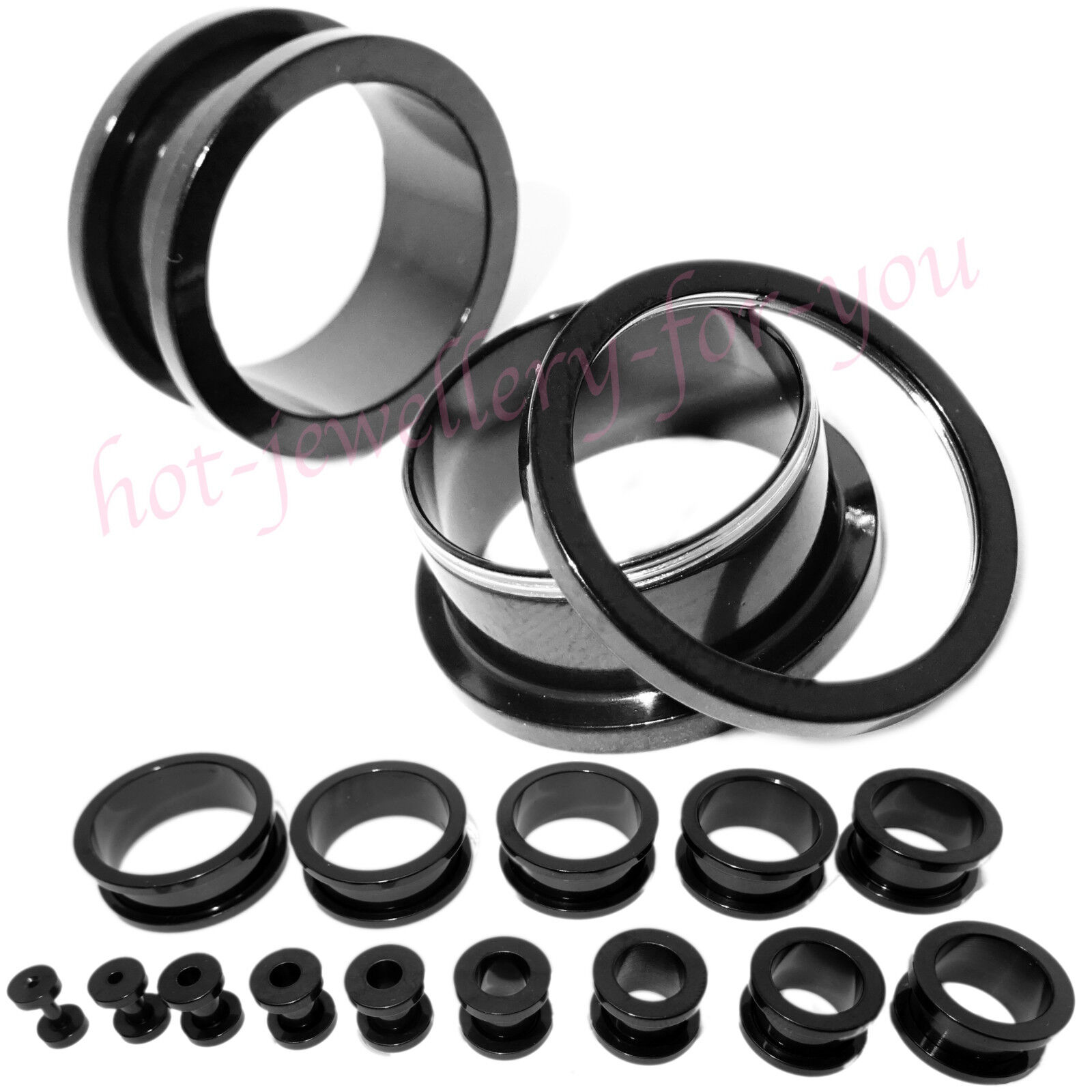 2 x BLACK SCREW BACK Flesh Tunnel Ear Plug Stretcher Steel Titanium Defender