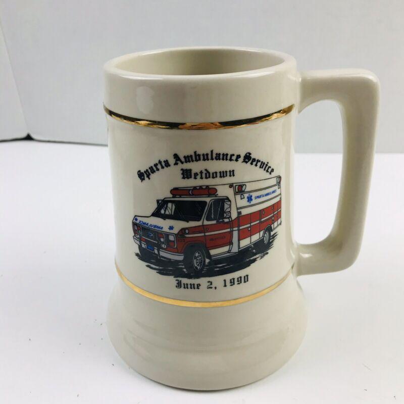 Vintage Sparta Ambulance Service WetDown 1990 New Jersey Cup Mug Beer Stein