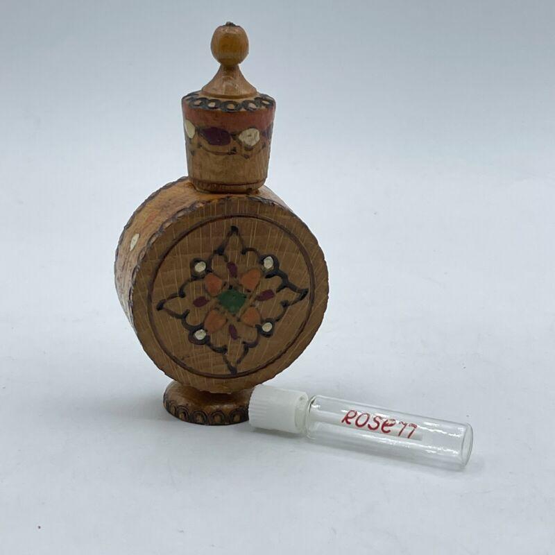 Vintage Bulgarian Small Wooden Perfume Bottle Holder Folk Art Rose With Vial