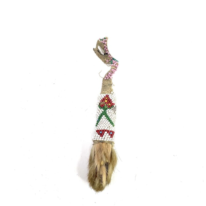 Antique Native American Leather Handcrafted Beaded Rabbits Foot New Mexico