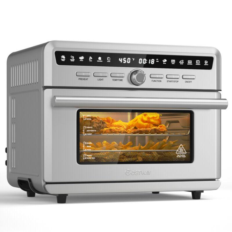 Costway 26.4 QT 10-in-1 Air Fryer Toaster Oven Dehydrate Bake 1800W w/ Recipe