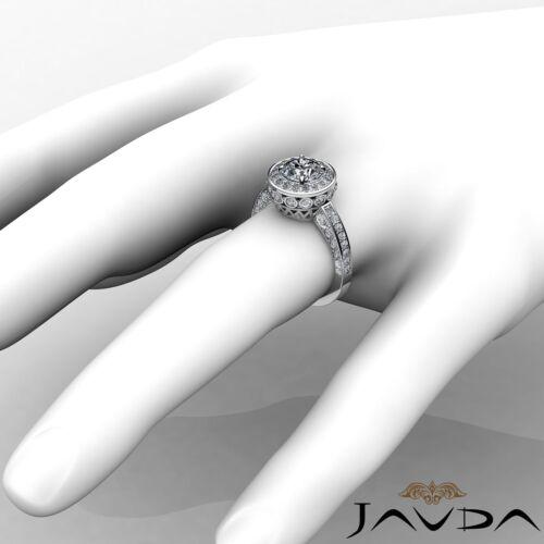 1.7ct Round Halo Pave Diamond Engagement Elegant Ring GIA F VVS2 Platinum 950 3