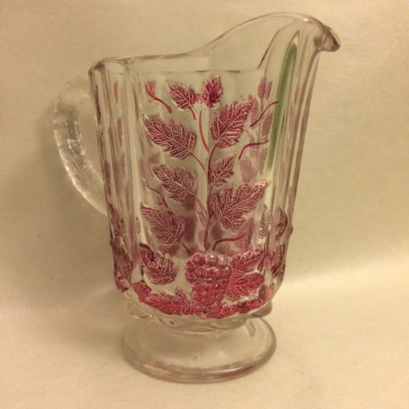 "Westmoreland Glass Paneled Grape Ruby Flash Small Pitcher 5"" Vintage"