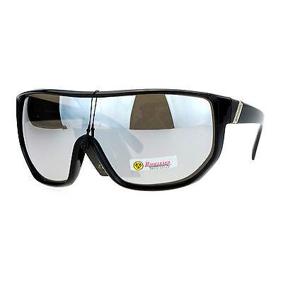Biohazard Sunglasses Mens Oversized Shield Goggle Frame Mirror Lens