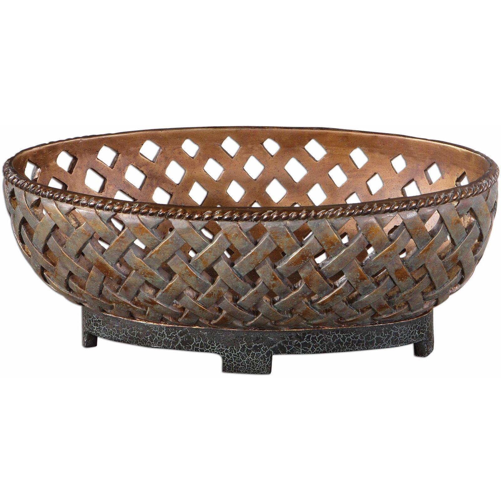Uttermost Teneh Lattice Weave Design Bowl in Copper Bronze