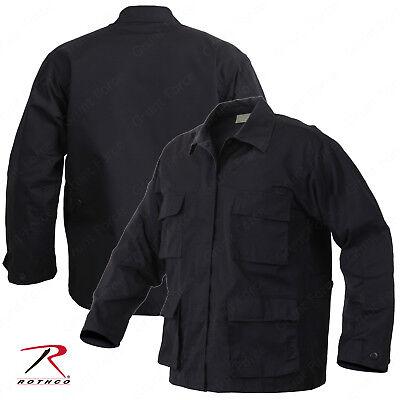 Men's Black Rip-Stop Uniform Jacket - Rothco SWAT Tactical BDU Shirt (Swat Uniform)