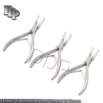 3 Pieces Of Blumenthal Bone Rongeur 30 Degree 7 Surgical Dental Instruments