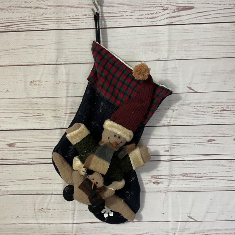 "Snowman Christmas Stocking 3-D Applique Boucle Fleece Fabric 17"" Blue"
