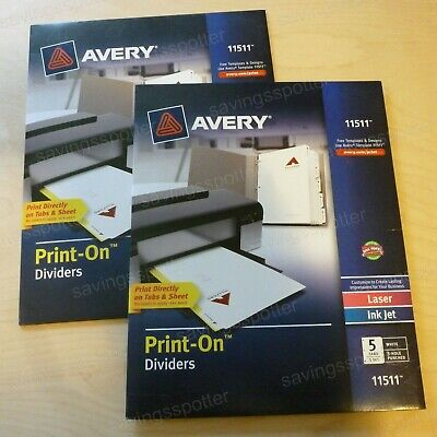 Lot Of 2 Packs Avery Customizable Print-on Punched Dividers 5 Tabs Laserinkjet
