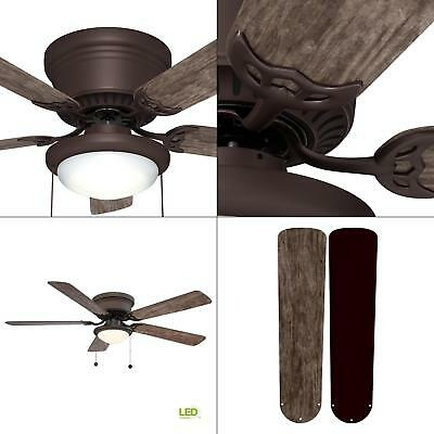 Hugger 52 in. Ceiling Fan with LED Light Espresso Bronze Low Ceiling Flush -