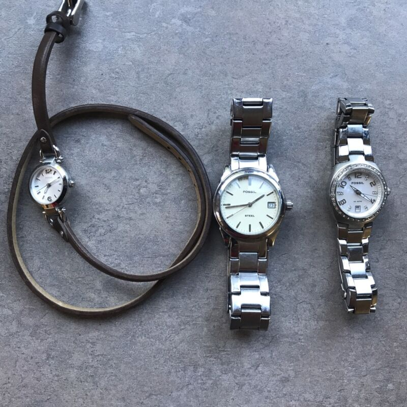 Great Lot of Three Fossil Watches all Three Watches Run Great Lot#12