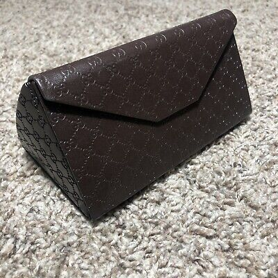 GUCCI Triangular Folding Hard Glasses Case Lined Monogram Vintage GG Brown