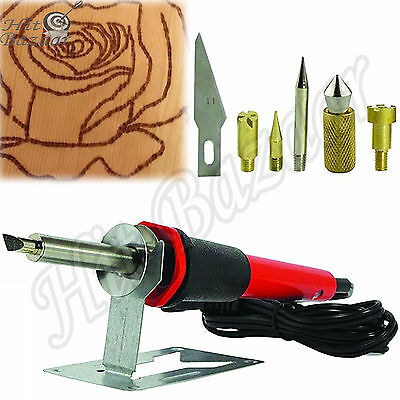 WOOD BURNING PEN Kit Hand Engraver Hobby Professional Tool Set Art Craft Tips
