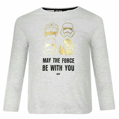 BOYS STAR WARS LONG SLEEVE TOP T SHIRT MAY THE FORCE BE WITH YOU GREY/GOLD 7-8Y