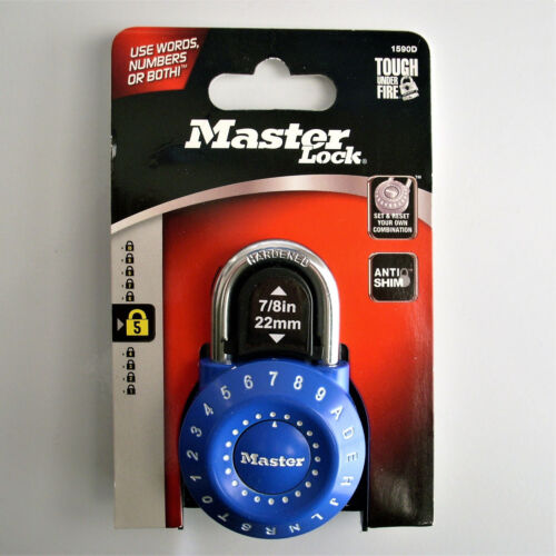 """MASTER LOCK 1590D Combination Padlock """"Set Your Own Combination"""" Words / Numbers"""