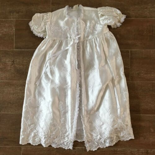 S Antique Christening gown white robe satin vintage victorian reborn doll baby