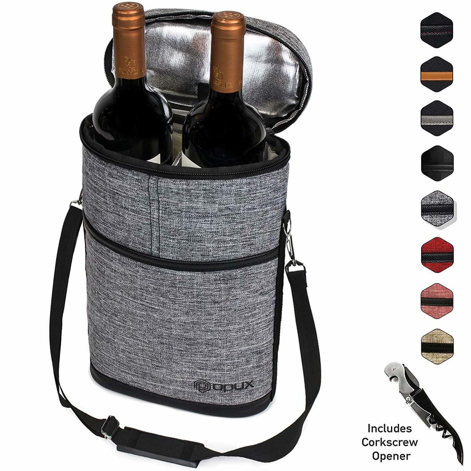 Details About 2 Bottle Wine Travel Bag Set Picnic Insulated Cooler Carrier Tote Luggage Case