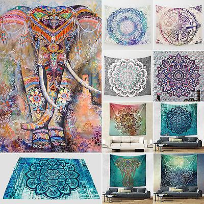 Indisch Elefant Mandala Wandbehang Tapisserie Wandteppich Yoga Badetuch Matte J