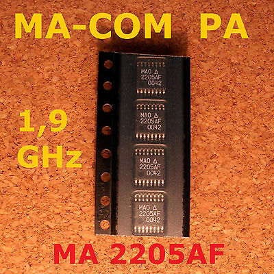 4 pcs. MA-COM MA02205AF 1,9GHz RF Power Amp Gain=29,3dBm Pin_min -8dBm