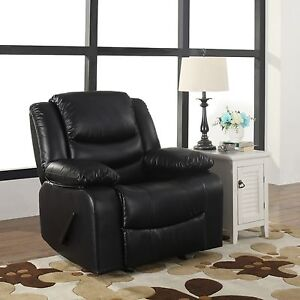 Bonded Leather Black Single Seat Living Room Recliner And Rocking Chair Part 89
