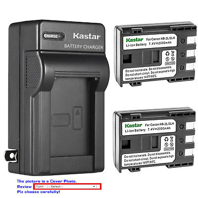 Kastar Battery AC Wall Charger for Canon NB-2L NB-2LH BP-2L5 BP-2LH CB-2LWE