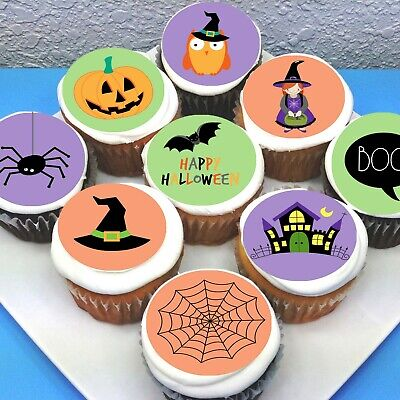 """Halloween Scary Pre-cut 2"""" Edible Icing Cupcake Toppers - Sheet of 15"""