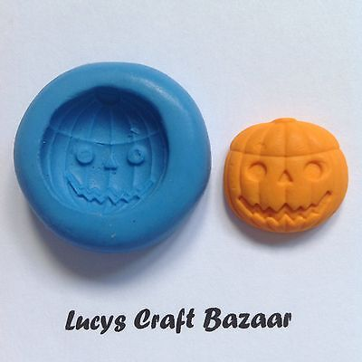 Silicone Mould Carved Pumpkin Halloween Scary Sugarcraft Cupcake Topper Sculpey