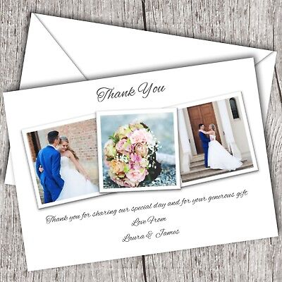 Photo WEDDING Thank You Cards • Personalised • Fast Post (3 Photos)