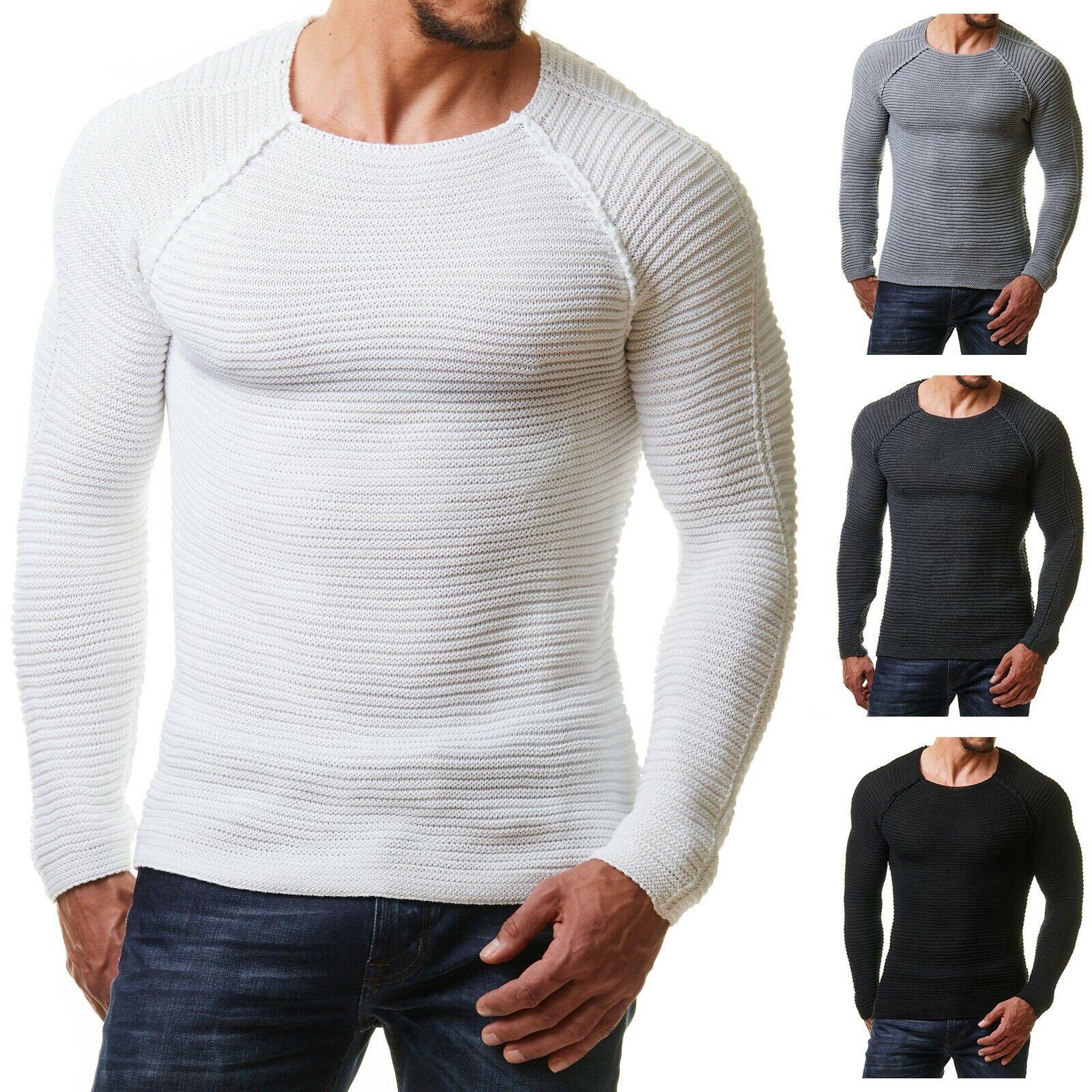 Burocs BR8542 Herren Strick Pullover Longsleeve Shirt Fitness Slim Fit