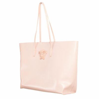 Versace Women's Pink Saffiano Leather Medusa Tote Handbag Shoulder Bag