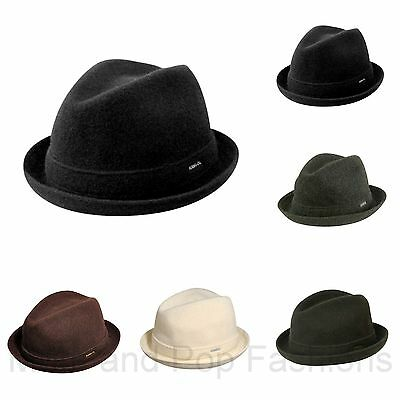 - Authentic Kangol Wool Player Fedora Trilby Hat Cap 6447BC