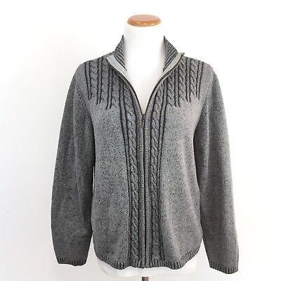 Karen Scott Zip Front 100% Cotton Sweater Comfortable Classic Style Womens L (Classic Zip Front Sweater)
