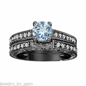 VINTAGE STYLE 14k BG 1 14CT AQUAMARINE DIAMONDS ENGAGEMENT RING WEDDING SETS