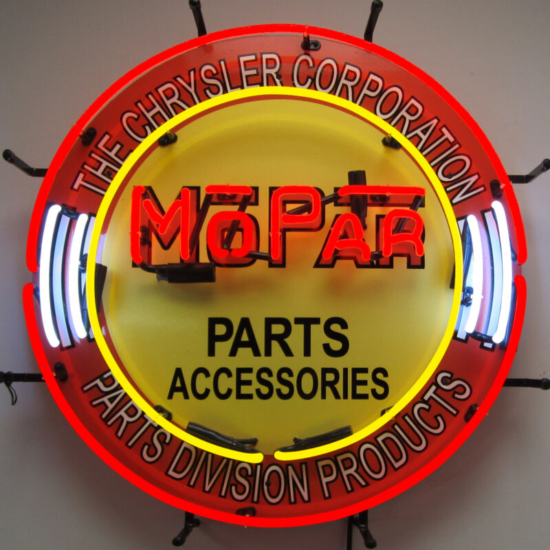 Neon sign Mopar parts and accesories Chrysler Plymouth Dodge Desoto Hemi round