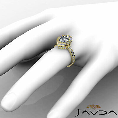Circa Halo Pave Pear Shape Diamond Engagement Ring GIA Certified G SI1 2.05 Ct 9