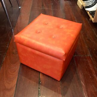 1970s vinyl footstool- storage box