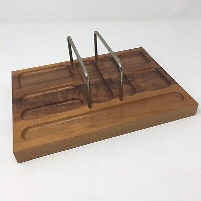 Vintage Desktop Organizer Walnut Wood Tray 9.5 X 7 Solid American Walnut