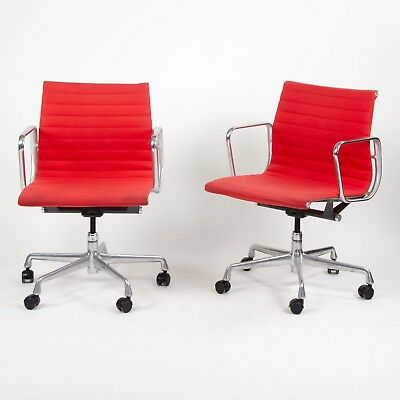 2007 Eames Herman Miller Aluminum Group Executive Desk Chair Red Fabric 2x for sale  Hershey